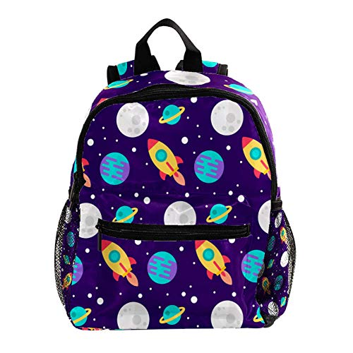 Laptop School Backpack Girls Bookbags Schoolbag for Teens University Travel Daypack,Outer Space Rockets Planets Pattern