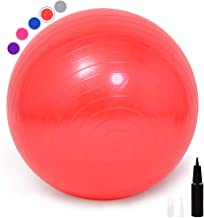 Guken Exercise Ball Yoga Ball Chair,65cm/75cm Workout Ball for Yoga,Fitness,Pilates, Birthing, Therapy, Office Ball Chair,No Slip,Anti-Burst Heavy Duty Stability Ball with Pump for Home,Office,Gym