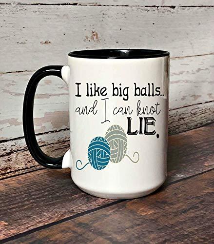 Zor345damilla I like big balls and I can knot lie taza de café, divertida taza de crochet, regalo para crochet, divertida taza de café de crochet, se puede personalizar