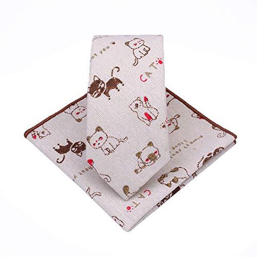 JUNGEN Corbata Informal de Hombres Juego de Corbata y pañuelo Corbata de Estampada de Gato y Pescado Corbata Estrecha Corbata de algodón y Lino Corbata de Divertida Size 145 * 6cm (Marrón)