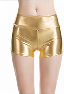 cinnamou Damen Leder Shorts Metallic Rave Booty Tanz Shorts Damen Hose Leder Optik Damen Wet Look Sport Gym Hotpants Metallic Shorts Shiny Leggings Kurze Hose Wetlook Hot Pants