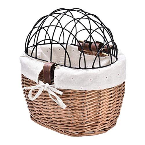 Delaspe - Cestino anteriore per bicicletta, in tessuto di salice, con filo protettivo per cani e cuccioli e gatti
