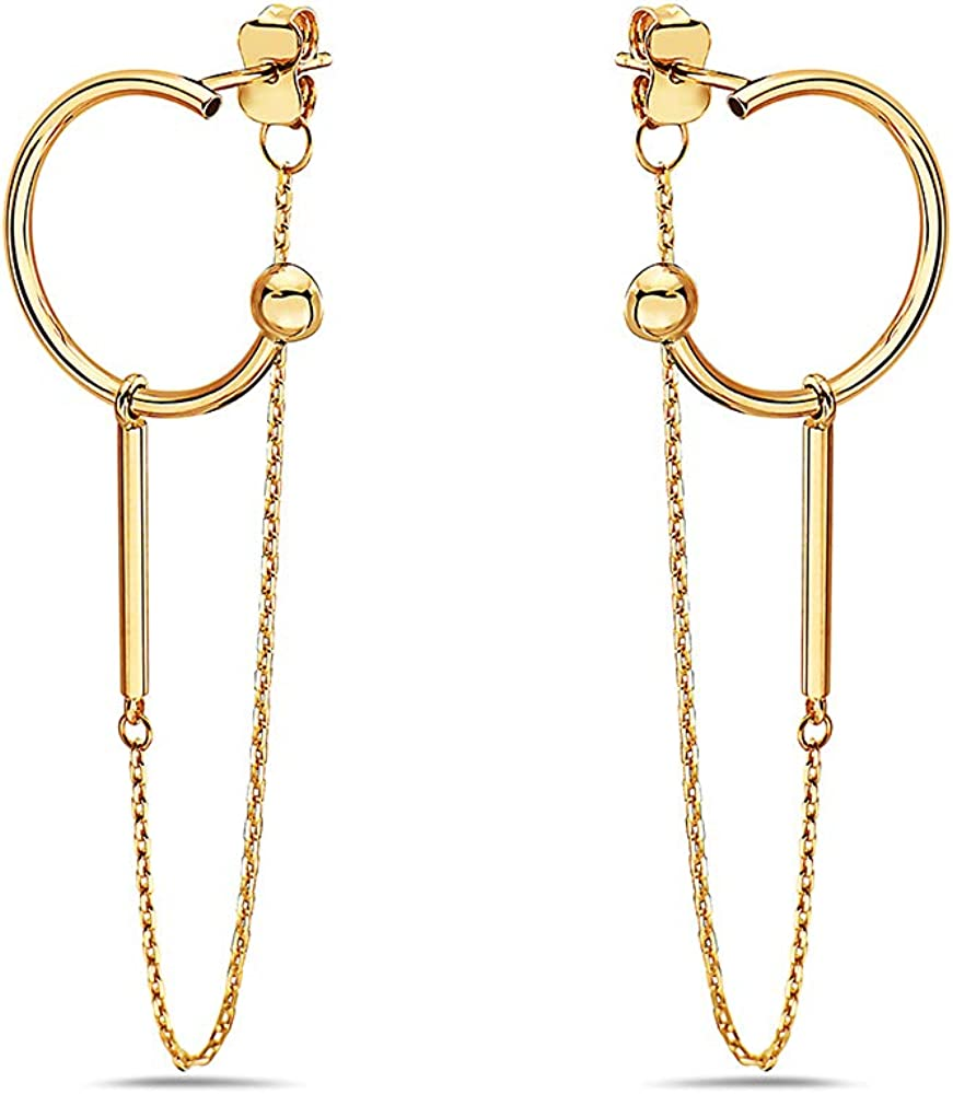 Pori Jewelers 14K Solid Yellow Gold Dangling Chain Earrings with Semi-Hoop Design - Butterfly Backings