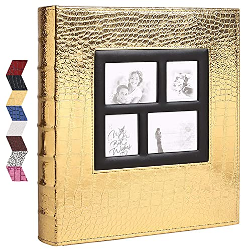 Vienrose Photo Album for 600 4x6 Photos Leather Cover Extra Large Capacity for Family Wedding Anniversary Baby Vacation (Gold with Crocodile Pattern & 600 Pockets)