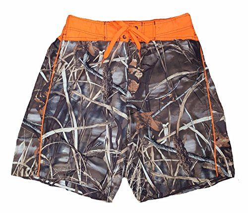Realtree Camouflage Camo Orange Trim Boardshort Swim Trunks - 2XL
