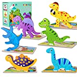 Toddler Puzzles, 6 Pack Wooden Dinosaur Puzzles for Kids 3 Years Old, Jigsaw Puzzle Toys for Boys Girls