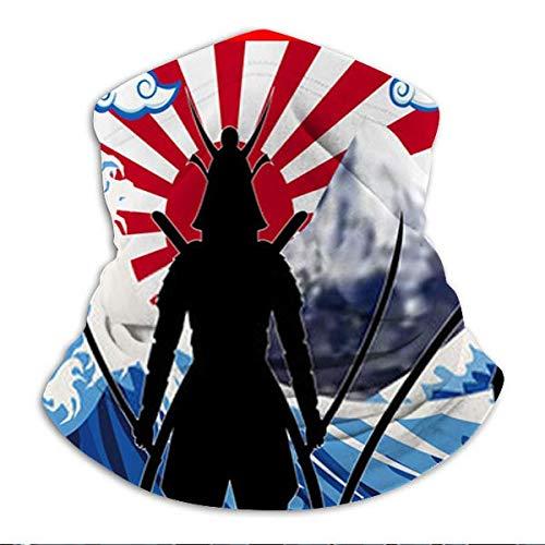 zhouyongz Silhouette Japón Samurai con la bandera del sol levantando la ola O UNISEX hombres mujeres super suave cuello abrigador sombrero para esquí senderismo