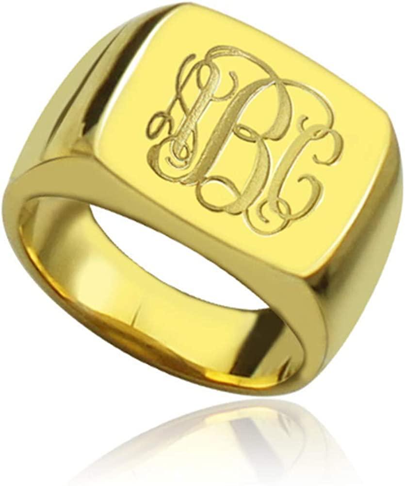 Personalized Monogram Initial Ring Carved Ranking TOP1 Square Ranking TOP14 Ster 925 Design