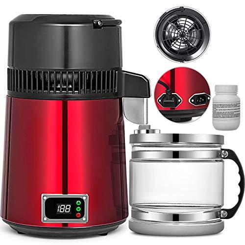 VEVOR Destilador de Agua 4L con Temperatura Ajustable Filtro de Destilación de Agua de Acero Inoxidable 750W Destilación Casera de Color Rojo Purificador Dispensador para Hospital Oficinas Hogar