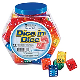 Learning Resources Dice In Dice Bucket, Math Toy, Manipulative, Set of 72, Ages 6+, Multi-color, 3/4 W in (B000NGBGVI) | Amazon price tracker / tracking, Amazon price history charts, Amazon price watches, Amazon price drop alerts