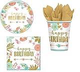 ILS I LOVE SHOPPING Kit Festa Coordinato Tavola Addobbi Party Set Compleanno con 8 Piatti 23cm, 8 Bicchieri e 20 tovaglioli (Boho Hawaii Floreale, Set 8 Persone)