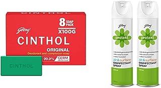 Cinthol Original Bath Soap - PO8 (100g) & Godrej Protekt Disinfectant Spray, Citrus - PO2 (240ml each)