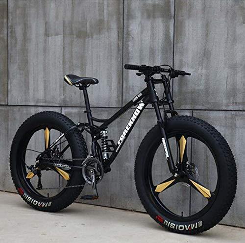 GASLIKE Bicicleta de montaña para Hombres y Mujeres, Cuadro de Acero de Alto Carbono, Freno de Disco mecánico, Ruedas de aleación de Aluminio de 26 Pulgadas,Negro,27 Speed