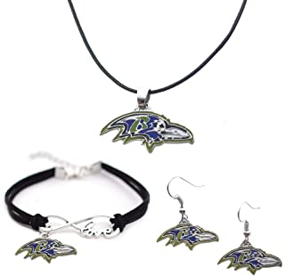 Football Team Color Cord Pendant Necklace Charm Chain Bangle Bracelet Dangle Earring Jewelry Set for Women Men,Sport Fans ...