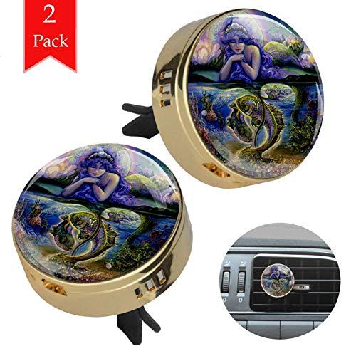 Sternbild Ölgemälde Golden 2 Wagen diffusor aromatherapie ätherisches öl diffusor holz Legierung metall Runden Aromatherapie-Clip + 4 Füllen Sie die Pads nach