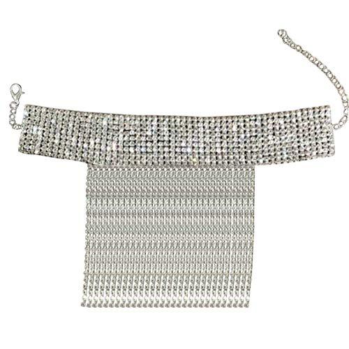 ZYYXB Tobillera elástica para mujer, con diamantes de imitación, cadena para niñas, con borla de diamantes de imitación, cadena de pie, para mujer, joyería de la pierna, regalos de cristal tobilleras