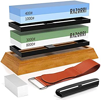 Razorri Double-Sided 400/1000 and 3000/8000 Knife Sharpening Stone Kit