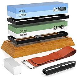 Razorri Abziehsteine Set, doppelseitig 400/1000 und 3000/8000 Grit Schleifsteine mit Abrichtstein, Winkelführung, Bambusbasis, Lederstreifen, für Metallklinge schärfen und polieren (Flache Basis)
