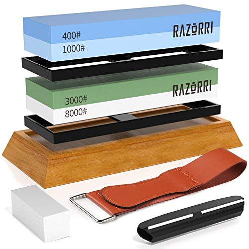 Razorri Solido S2 set di pietre da affilare con base ergonomica in bambù – Pietre abrasive double-face con grana 400/1000, 3000/8000, strisce in pelle, guida angolare (Piatta Base)