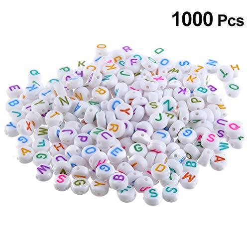 VOSAREA 1000 UNIDS 7 x 4 mm Cuentas de Acrílico del Alfabeto Redondo Perlas de Letra Encantos para Bandas de Telar Pulseras DIY Fabricación de Joyas
