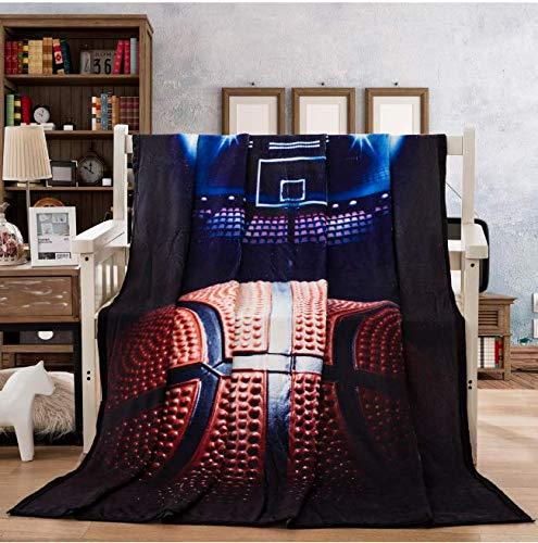 ZGWS Sportdecke Basketball Ground Blau Mit Blitzlichtern Sport Fleecedecke Schwarz Sherpa Decke Für Jungen Teen Erwachsene 150X200Cm