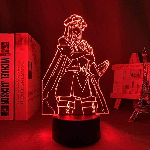 3D Led Nachtlicht Illusion Lampe Usb Anime Jungen Akame Ga Kill Esdeath Room Decor Manga Akame Ga Kill Neon Geburtstag Weihnachten-Mit Fernbedienung