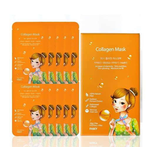 korean beauties FASCY Collagen Face Mask Pack — Collagen Mask for Face, Hydrolyzed Collagen + Hyaluronic Acid, Rejuvenating Collagen Mask, Anti Aging Mask, Korean Face Mask Set, (10pcs/ 1 pack), [26g X 10]… (Tencel sheet)