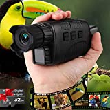 Night Vision Monocular Hollee Night Vision Scope for Total Darkness 1.5'' LCD Screen Infrared Digital Camera with Night Vision 32GB Card Photo Video Recording for Outdoor Adventure Hunting Observation