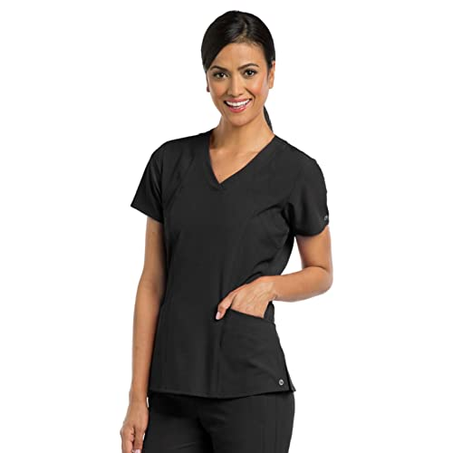 5411213907d Barco One Women's 5105 V-Neck Perforated Detail Performance Scrub Top