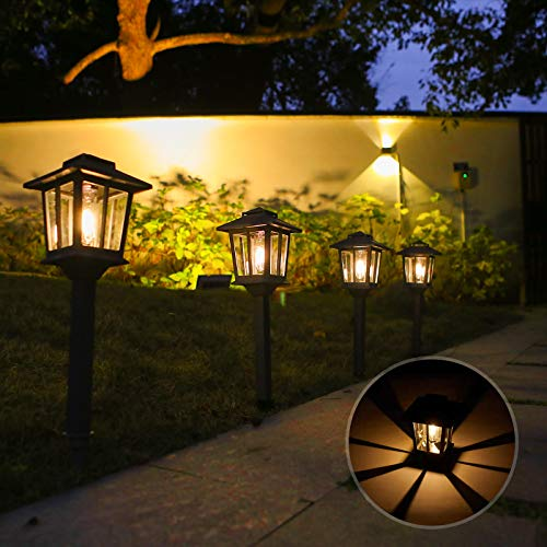BLUU Aluminum Solar Pathway Lights Solar Lights Outdoor 4 Pack with 3 Kinds Alternative Light Source - High Lumen Automatic Led for Garden, Landscape, Patio, Lawn, Yard, Driveway, Walkway