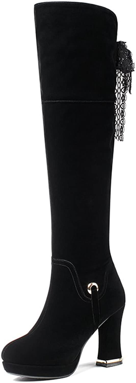 DecoStain Women's Lace Up Slouched Knee High Platform Boots