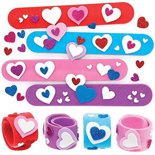 Baker Ross AX716 Heart Slap Bracelet Kits - Pack of 4, Kids Jewellery Making Craft Kits, Slap Bands Great for Children's Party Bag Fillers or Kids Pocket Money Toys