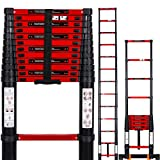 Fitprobo 3.8M Telescoping Ladder Aluminum Foldable Ladder with Stabilizer Bar Extendable Portable Loft Ladder with EN131 and CE Standard Max Load 330lb/150kg