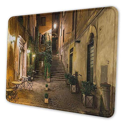 Italienische benutzerdefinierte Mauspad alten Hof Rom Italien Café Stühle Stadt historisches Ambiente Häuser Straße personalisiertes Design Computer Mauspad orange braun grün, Es