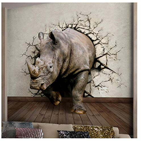 Art Wall Stickers Rhino Large 3D Effects Mural,Three-Dimensional World of Animals Wallpaper Entrance Way 280 cm (W) x 180 cm (H)