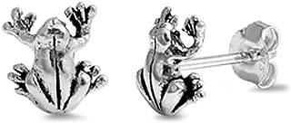 9mm Small Frog Stud Earrings 925 Sterling Silver