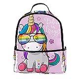 TIZORAX Mochila de unicornio en gafas de sol arcoíris para portátil, mochila de...