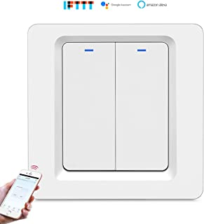 Aoave Smart Light Switch 2 Gang, Wifi Wall Switches Timer Work with Alexa, Google Assistant and IFTTT, Voice and Touch Switch Remote Control