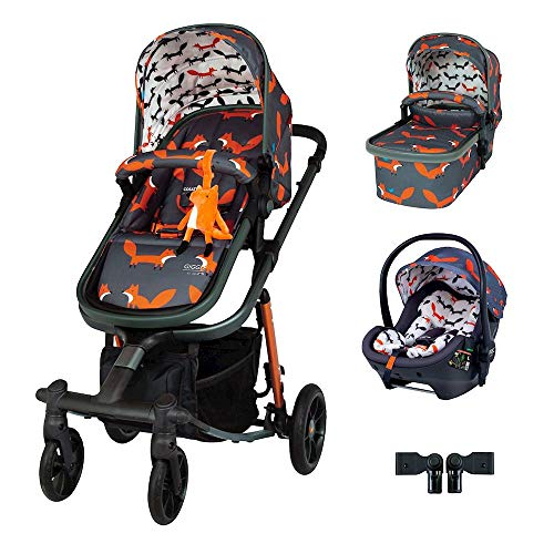 Cosatto Giggle Quad Pram Pushchair Travel System Bundle – From Birth to 20kg, RAC Port i-Size Car Seat, Adaptors, Raincover (Charcoal Mister Fox)