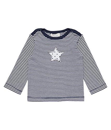Sense Organics Luna Crew Langarmshirt Débardeur, Multicolore (Navy Stripes + Star Appliqué 291012), 86 cm (Taille du Fabricant: 12M) Bébé garçon