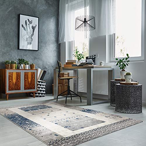 havatex Kurzflor Design-Teppich Vicky modern - Ethno-Style Blau oder Grau edel meliert mit Bordüre...