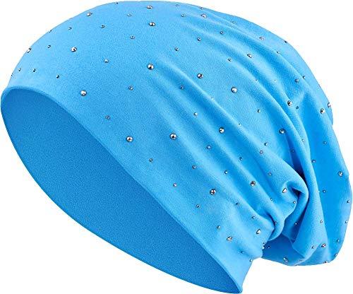 Jersey Baumwolle elastisches Long Slouch Beanie Unisex Herren Damen mit Strass Stern Steinen Mütze Heather in 35 (7) (Turquoise)