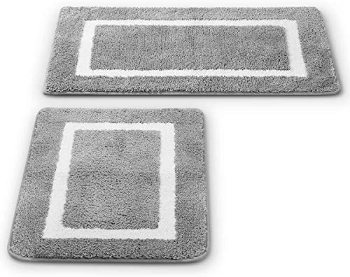 2 Pack Ultra Soft Microfiber Bath Mat, Anti Slip Bath Rug Set, Strong Absorbent, Machine Washable Shower Rugs, Perfect Plush Bathroom Mat for Tub,...