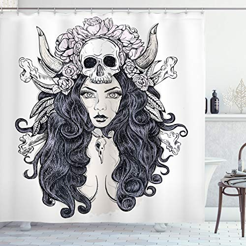 """Ambesonne Gothic Shower Curtain, Woman with Long Hair and Horns Roses Skull Mysterious Hunted Folklore Artwork, Cloth Fabric Bathroom Decor Set with Hooks, 70"""" Long, Pink Lilac"""