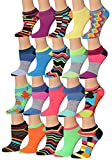 Tipi Toe Women's 20 Pairs Colorful Patterned Low Cut/No Show Socks WL06-AB