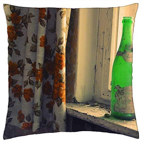 N\A Cojín Cojín Botella Verde Cortina Shabby Patrón Ventana Luz