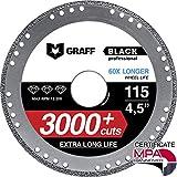 Disco de Corte GRAFF Black 115mm / 125mm para Amoladora Angular, Disco Corte para Hoja de Metal, Tubos y Perfiles de Metal, Hierro, Hierro Fundido (115 mm)