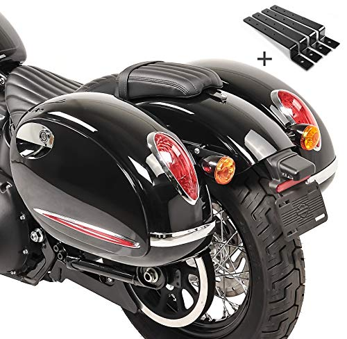 Alforjas rigidas (par) Moto Custom Craftride Alabama 33l + Kit de Montaje Kawasaki VN 900 Classic/Custom/Light Tourer, VN-15, Vulcan 900 Classic/Custom, Vulcan S