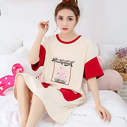 Ensemble Pyjama Femmes,Coton D'Été Home Sweet Cute Cartoon Flamingo Correspondance Des Couleurs D'Impression Grand Format Occasionnels Chemise Lâche Et Confortable Confortable Accueil L'Usure P