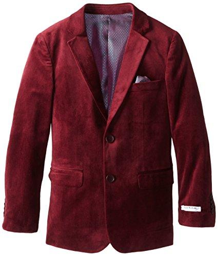Isaac Mizrahi Big Boys' Solid Velvet Blazer, Cranberry, 16
